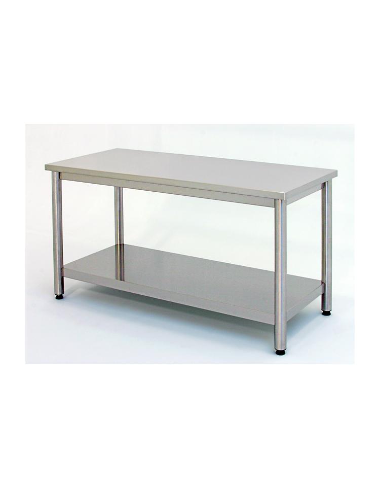 Tavolo inox su gambe tonde c ripiano cm 150x60x85 90h profondit cm 60 piano di lavoro - Tavolo profondita 60 cm ...