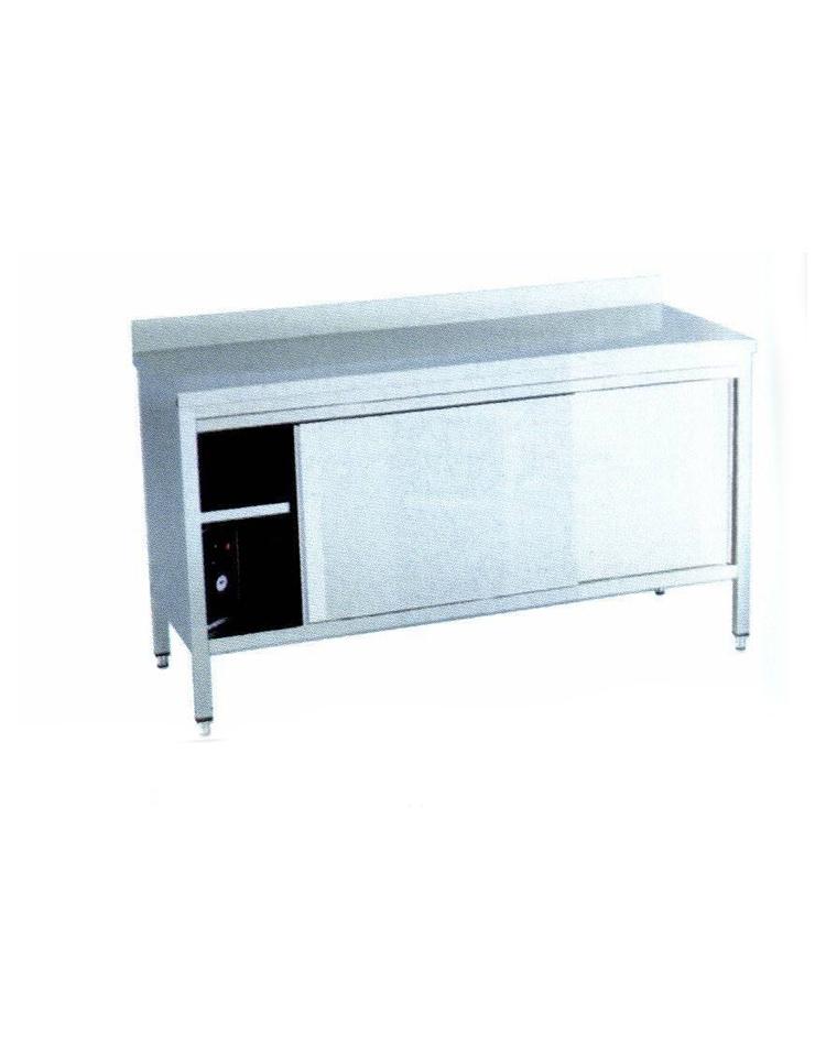 Tavolo armadiato caldo inox dimensioni cm 160x60x90h piano di lavoro con alzatina - Tavolo profondita 60 cm ...