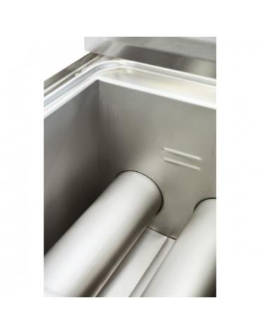 Friggitrice a gas da banco doppia vasca capacita' lt 8+8 cm 60x60x28h
