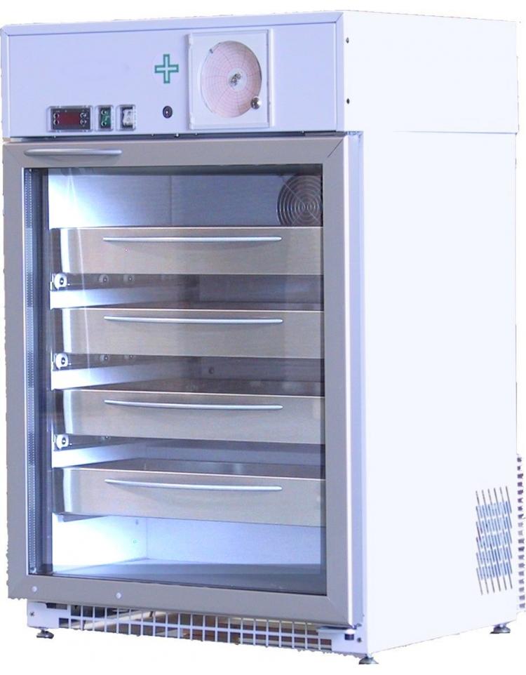 Frigorifero ospedaliero porta vetri lt 129 bianco con for Frigorifero temperatura