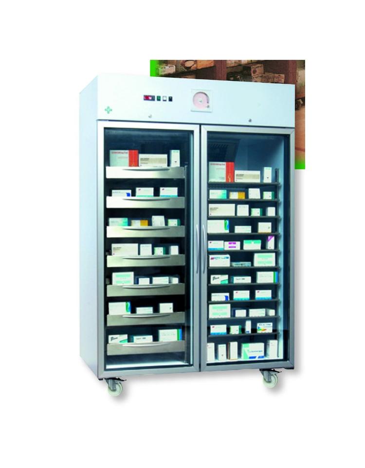 Frigorifero ospedaliero porta vetri lt 1352 bianco con for Frigorifero temperatura