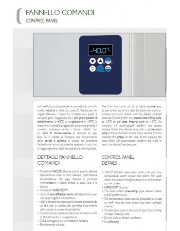 Abbattitore di temperatura per pasticceria / gelato 5 teglie GN 1/1 oppure EN 60x40 - Potenza W 1.787