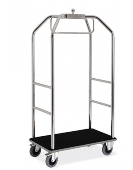 Carrello porta abiti e porta bagagli colore moquette nera o bordeaux cromato cm 108x76x189h - Porta abiti con ruote ...