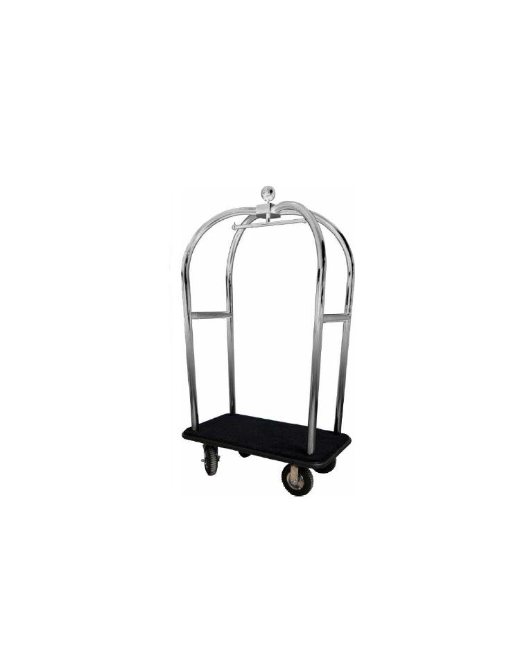 Carrello porta valigie con appendiabiti acciaio cromato - Portabiti con ruote ...