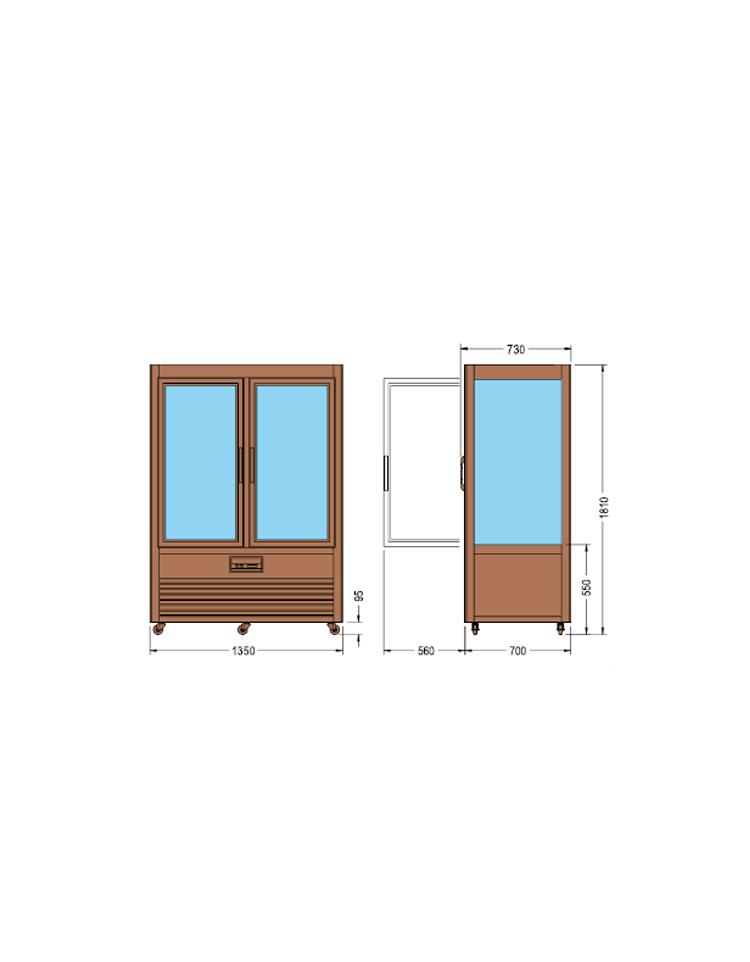 Vetrina espositiva verticale refrigerata in legno colore for Vetrina in vetro