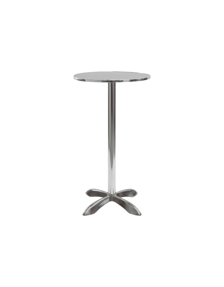 Tavolo in alluminio e legno rotondo diametro cm 80 for Tavolo tondo alto