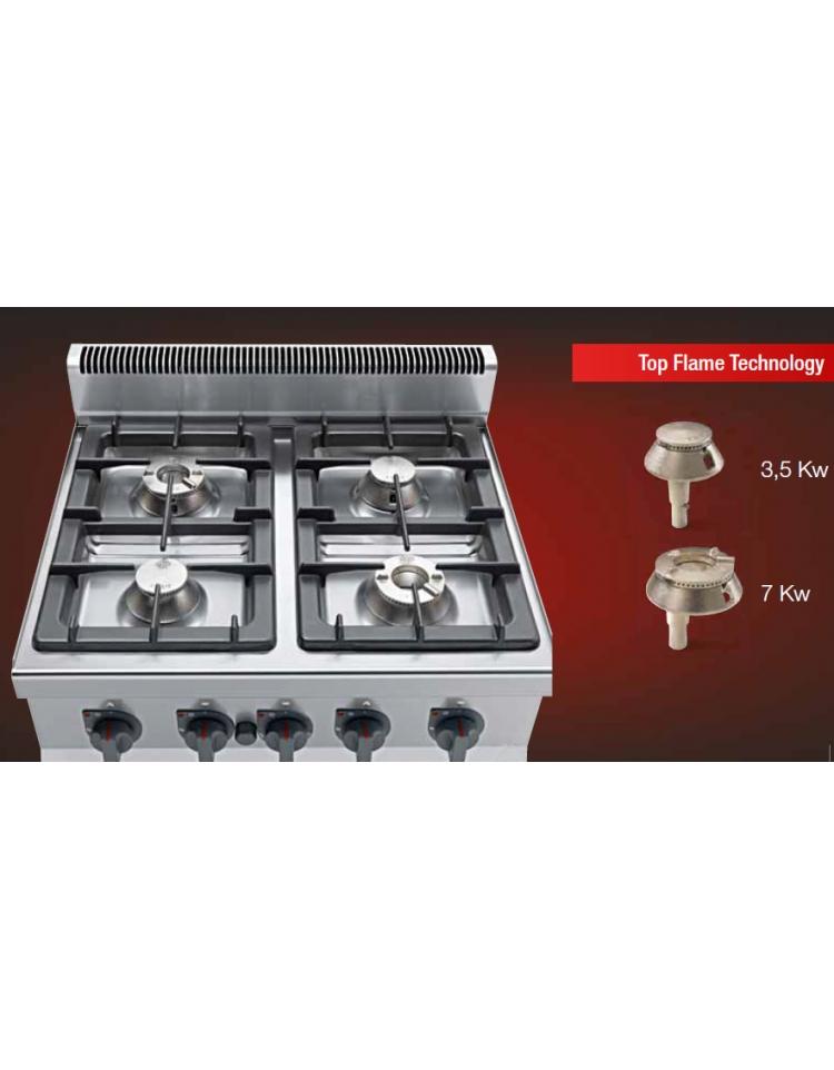 Cucina professionale industriale a gas 6 fuochi -ALTA POTENZA - cm