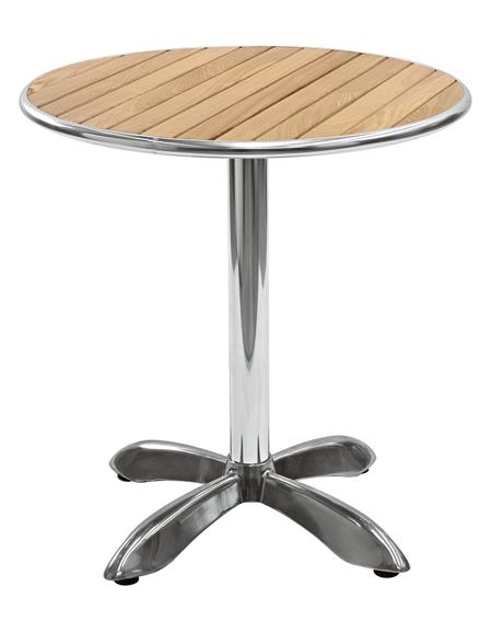 Tavolo in alluminio e legno rotondo diametro cm 70 for Tavolo rotondo 70 cm