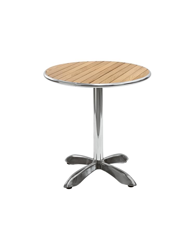 Tavolo in alluminio e legno rotondo diametro cm 80 for Tavolo consolle 80 cm
