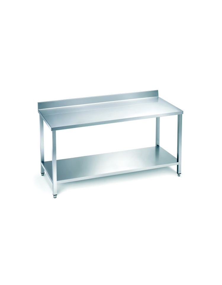 Tavolo acciaio inox con alzatina e ripiano cm 100x60x85 for Tavolo cucina 60 x 100