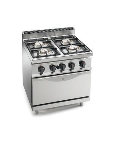 Cucina a gas 4 fuochi MEDIA POTENZA con forno a gas GN 2/1 - cm 80x70x85/90h