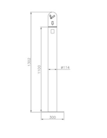 Spegnisigarette in acciaio inox. Da fissare a muro - cm Ø11,4x70h
