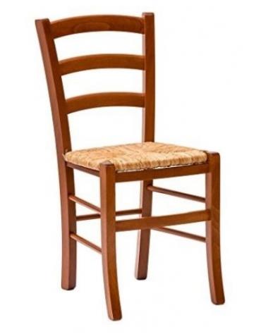 Sedia paesana in legno con seduta in paglia