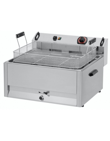 Friggitrice elettrica da banco con rubinetto, zona freda, 1 vasca, capacità olio: 16 Lt