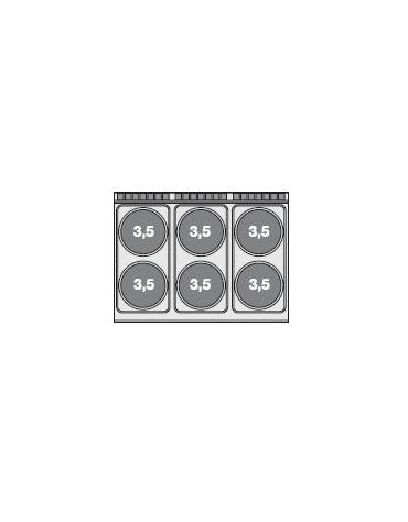 CUCINA 6 PIASTRE FORNO ELETTRICO STATICOcm. 120x 90x 90h