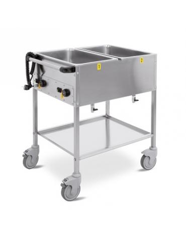 Carrello termico a giorno vasche separate Capacità 2 x 1/1 GN