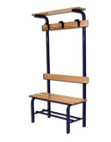 Panchina spogliatoio con schienale, attaccapanni e tettuccio.  Dimensioni cm 100x40x185h