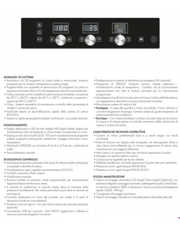 Forno combinato vapore professionale a gas per ristorante N° 5 Teglie GN 1/1 - Comandi touch screen