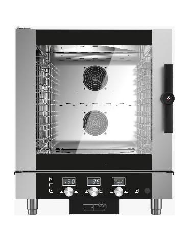 Forno combinato vapore professionale a gas per ristorante N° 7 Teglie GN 1/1 - Comandi touch screen