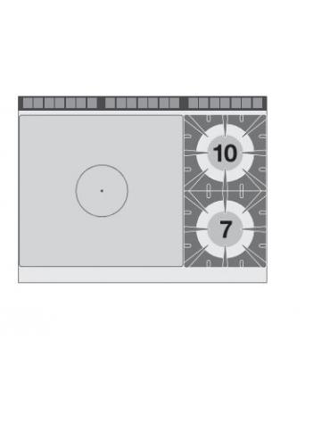 PIANO COTTURA TRIFASE SU MOBILE A GIORNO - N. 2 PIASTRE -CM 40X90X90H