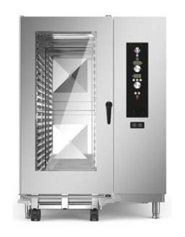 Forno a convezione ventilato professionale a gas 20 teglie gn 2/1 con carrello- Comandi Elettromeccanici - Con boiler