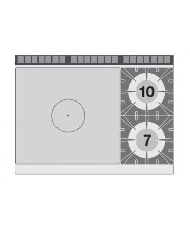 TUTTA PIASTRA + 2 FUOCHI SU FORNO GAS STATICO CM. 107X73X34H - PIASTRA CM. 77X73 - CM. 120X90X90H.