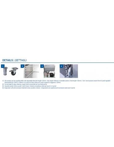 Tavolo refrigerato 3 porte con alzatina per pasticceria, in acciaio inox AISi 304, refrigerazione ventilata - 202x80x95h