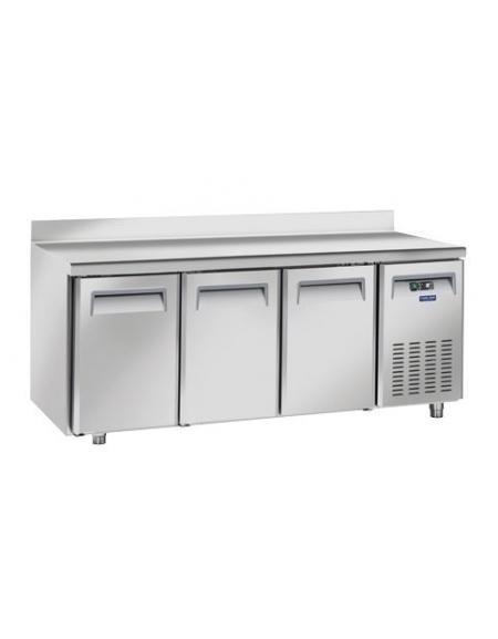 Tavolo refrigerato 3 porte con alzatina in acciaio inox ...