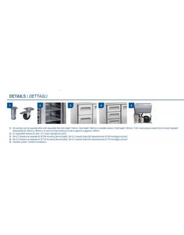 Tavolo refrigerato 4 porte con alzatina, in acciaio inox AISi 304, refrigerazione ventilata - cm 223x70x96h