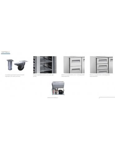 Tavolo refrigerato 4 porte con alzatina, in acciaio inox AISi 304, refrigerazione ventilata - cm 223x60x96h