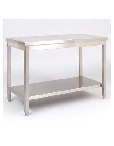 Tavolo in acciaio inox con ripiano Dimensioni cm.270x70x85/90h