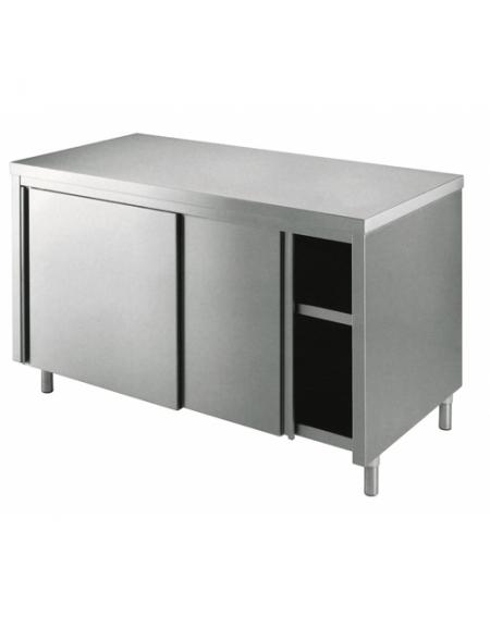 tavolo armadiato inox dimensioni cm. 230x70x85/90h - piano di lavoro