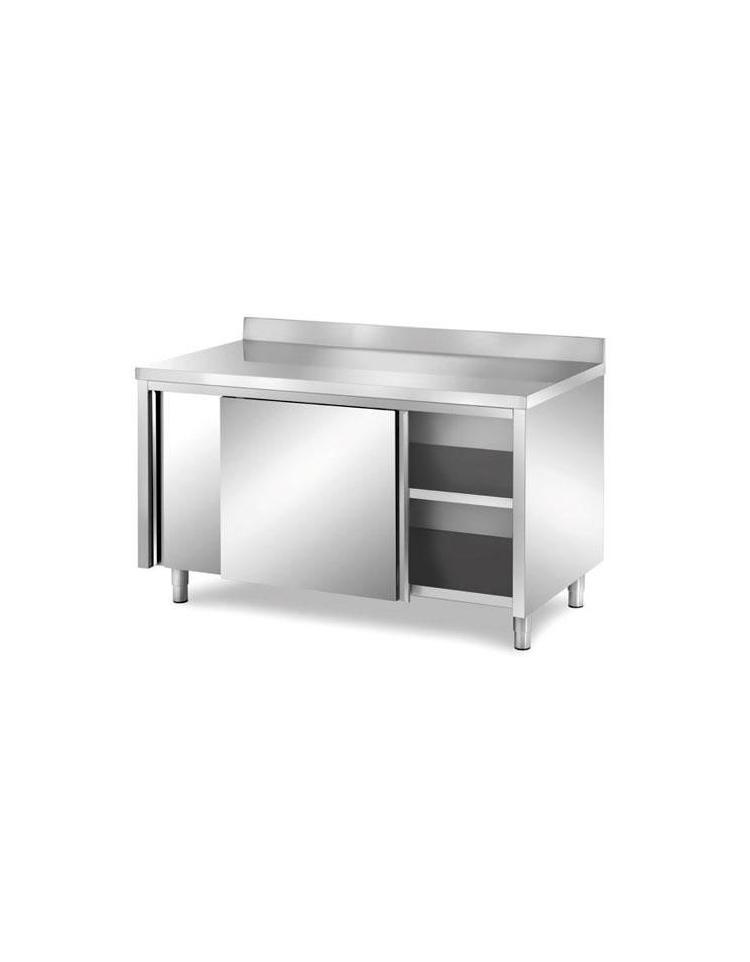 Tavolo armadiato inox con alzatina dimensioni cm 280x60x85 90h piano di lavoro con alzatina - Tavolo profondita 60 cm ...