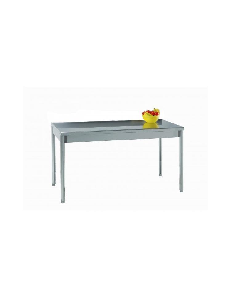 Tavolo acciaio inox in gambe tonde cm 130x60x85 90h profondit cm 60 piano di lavoro senza - Tavolo profondita 60 cm ...