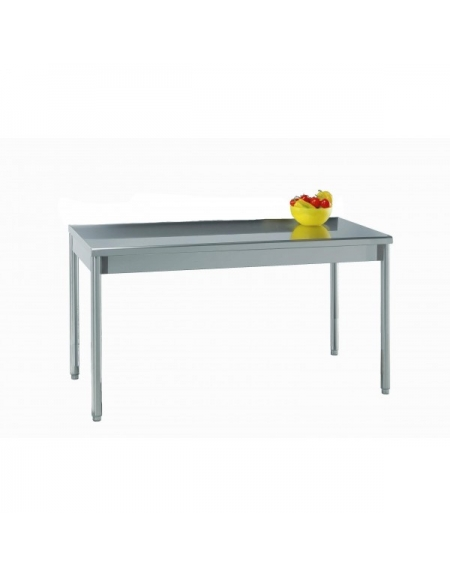 Tavolo acciaio inox in gambe tonde cm 130x70x85 90h profondit cm 70 piano di lavoro senza - Tavolo in acciaio inox usato ...