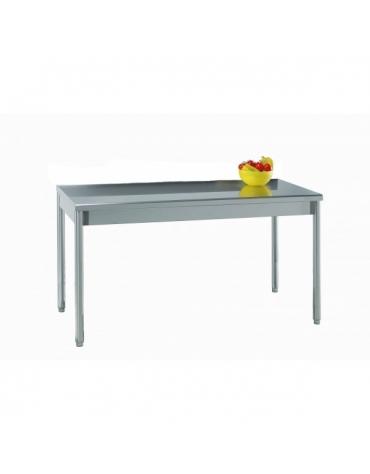 Tavolo acciaio inox in gambe tonde cm. 140x70x85/90h