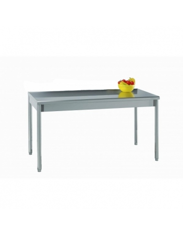 Tavolo acciaio inox in gambe tonde cm. 160x70x85/90h