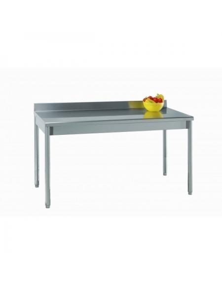 Tavolo acciaio inox su gambe tonde c alzatina cm 90x60x85 90h profondit cm 60 piano di - Tavolo profondita 60 cm ...