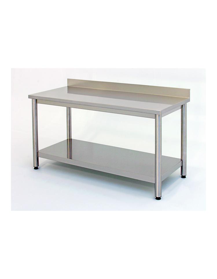 Tavolo inox su gambe tonde c alzatina e ripiano cm 240x60x85 90 profondit cm 60 piano di - Tavolo profondita 60 cm ...