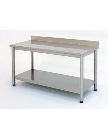 Tavolo inox su gambe tonde c/alzatina e ripiano cm. 210x70x85/90