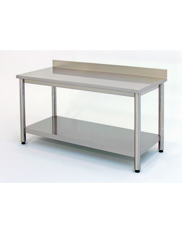 Tavolo inox su gambe tonde c/alzatina e ripiano cm. 250x70x85/90