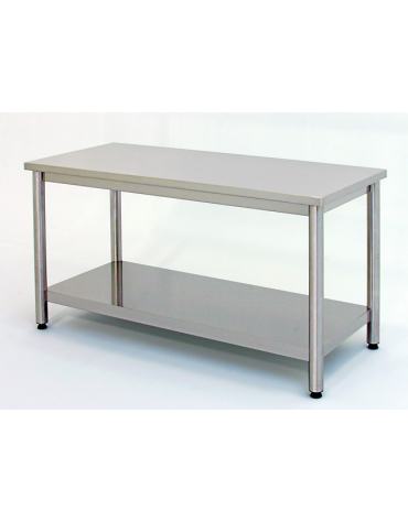 Tavolo inox su gambe tonde c/ripiano cm. 150x70x85/90h