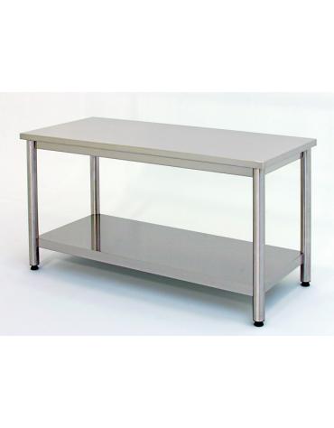 Tavolo inox su gambe tonde c/ripiano cm. 210x70x85/90h