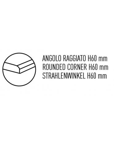 TAVOLO ARMADIATO CON 1 ANTA A BATTENTE, CON ALZATINA, ANGOLO RAGGIATO SU 1 FRONTE - CM. 60X70X85H