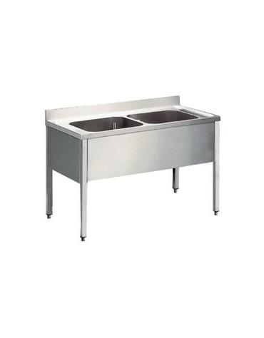 Lavatoio inox 2 vasche Dimensioni cm.160x70x85/90h