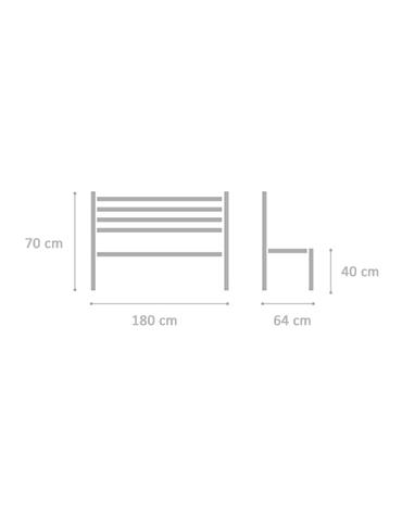 Panchina Zurigo doghe iroko cm50x170x86h