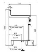 Cuocipasta a gas 1 vasca capacità 40 lt cm 40x70x90h