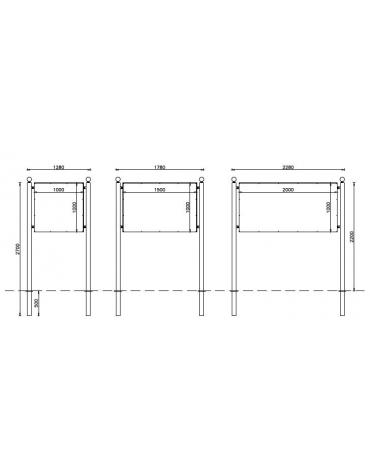Bacheca Simple con pannello in alluminio 200x150 cm