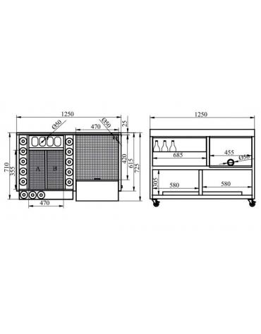 COCKTAIL STATION - CM. 125X70X83H