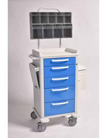 Carrello medicazione, blu con 5 cassetti - cm 77,5x71x92h